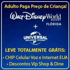 COMBO Black Friday Walt Disney World + Universal Orlando + Chip Celular Voz e Internet + Cartão VIP Dine 4Less